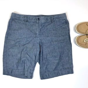LOFT Blue Chambray Jean Bermuda Shorts